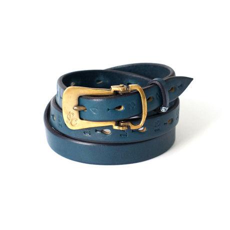 画像1: LEATHER NARROW BELT BLUE