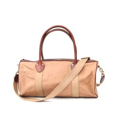 画像1: CANVAS LEATHER BOSTON BAG beige (1)