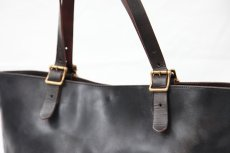 画像3: LEATHER TRAVEL TOTE BAG black【OIL&WAX SPECIAL】 (3)