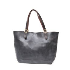 画像1: LEATHER TRAVEL TOTE BAG black【OIL&WAX SPECIAL】 (1)