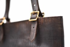 "画像3: LEATHER TRAVEL TOTE BAG-HEIGHT""Black"" (3)"