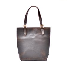 "画像1: LEATHER TRAVEL TOTE BAG-HEIGHT""Black"" (1)"