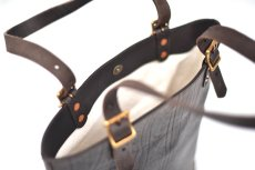 "画像9: LEATHER TRAVEL TOTE BAG-HEIGHT""Black"" (9)"