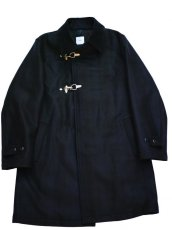 画像2: ts(s) Almost Solid Plaid Wool*Nylon Melton Cloth Fireman Coat (2)