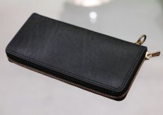 画像1: INDIGO LEATHER ROUND ZIP LONG WALLET (1)