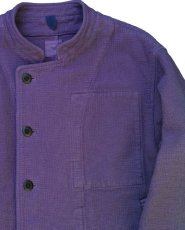 画像6: ts(s) Garment Dye Cotton Mesh Cloth Off-center Stand Collar Short Jacket PURPLE (6)