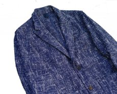 画像2: ts(s)  Cotton Blend Summer Tweed Cloth 2 Button Peaked Lapel Jacket BLUE (2)