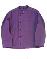 画像1: ts(s) Garment Dye Cotton Mesh Cloth Off-center Stand Collar Short Jacket PURPLE (1)