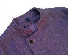 画像3: ts(s) Garment Dye Cotton Mesh Cloth Off-center Stand Collar Short Jacket PURPLE (3)