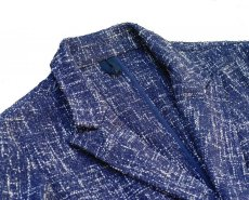 画像3: ts(s)  Cotton Blend Summer Tweed Cloth 2 Button Peaked Lapel Jacket BLUE (3)