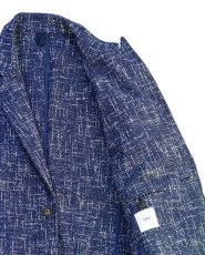 画像8: ts(s)  Cotton Blend Summer Tweed Cloth 2 Button Peaked Lapel Jacket BLUE (8)