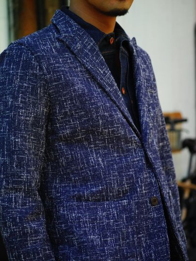 画像2: ts(s)  Cotton Blend Summer Tweed Cloth 2 Button Peaked Lapel Jacket BLUE