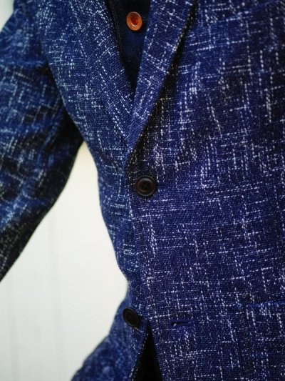 画像3: ts(s)  Cotton Blend Summer Tweed Cloth 2 Button Peaked Lapel Jacket BLUE