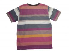 画像2: ts(s) Multicolor Irregular Stripe Viscose*Nylon Cloth Big T-shirt WINE (2)