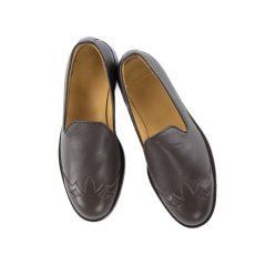 画像1: VARDE77 WESTERN LEATHER SLIP-ON BROWN (1)