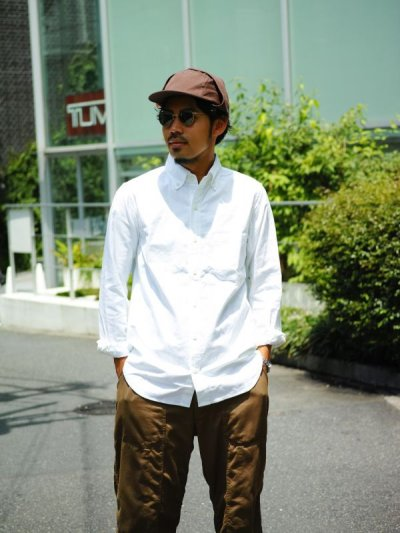 画像1: ts(s) Middle Weight Cotton Oxford Cloth B.D. Shirt WHITE