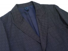 画像3: ts(s) High Count Polyester*Cotton Shadow Crest Jacquard Cloth 2 Button Peaked Lapel Jacket NAVY (3)