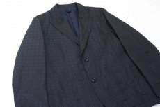 画像2: ts(s) High Count Polyester*Cotton Shadow Crest Jacquard Cloth 2 Button Peaked Lapel Jacket NAVY (2)