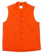 画像1: ts(s) Lightweight High Count Polyester*Cotton Poplin Cloth Quilted Liner Vest ORANGE (1)