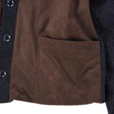 画像4: VARDE77  POLYNUBUCK&COTTON KNIT CARDIGAN BLACK BROWN (4)