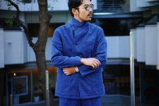 画像18: ts(s) Garment Dye Brushed Pinstripe Stretch Cloth Wide Lapel Square Hem Jacket ROYAL (18)