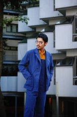 画像14: ts(s) Garment Dye Brushed Pinstripe Stretch Cloth Wide Lapel Square Hem Jacket ROYAL (14)