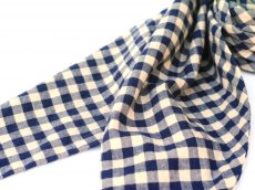 画像3: ts(s) Double-sided Brushed Block Plaid Cotton Cloth Bias Cut Scarf BEIGE (3)