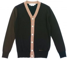 画像1: M A R N I  COLOR BLOCK CARDIGAN BROWN (1)