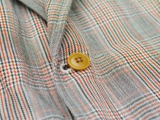 画像4: ts(s) Color Glen Plaid Cotton*Linen Cloth 3 Slant Flap Pocket 2 Button Jacket GREEN (4)