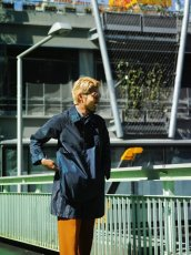 画像8: ts(s) Super Iridescent Nylon*Polyester Taffeta Cloth Fly Front Raglan Sleeve Coat NAVY (8)
