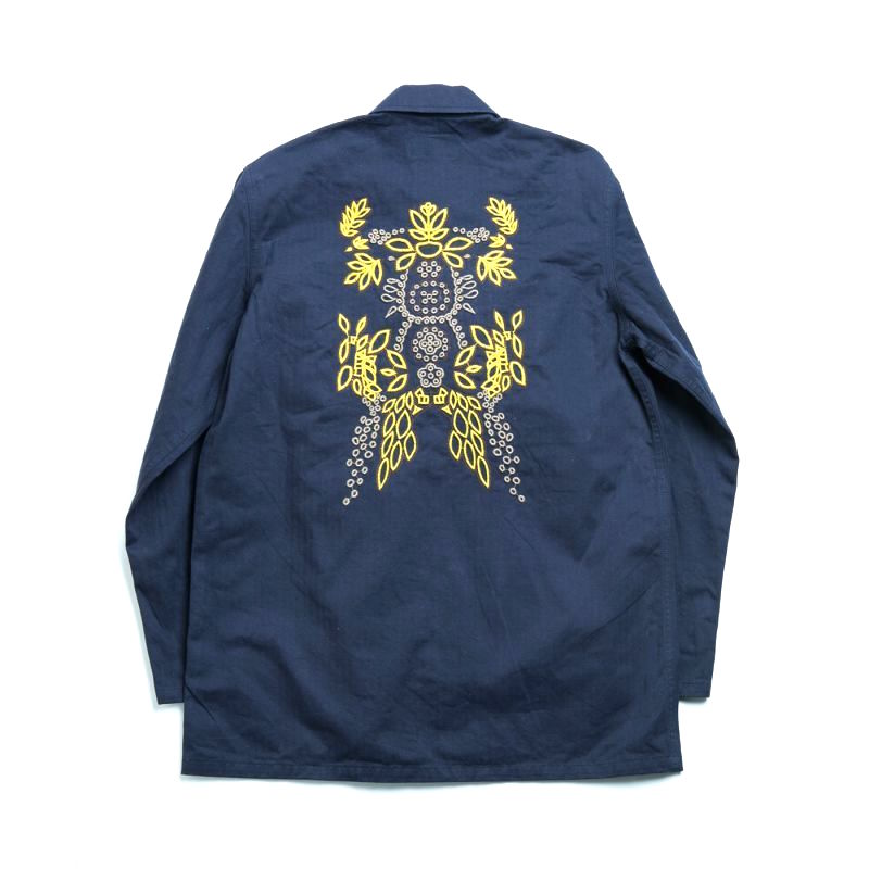 画像1: M-1947 HBT JACKET WITH FLOWER NAVY