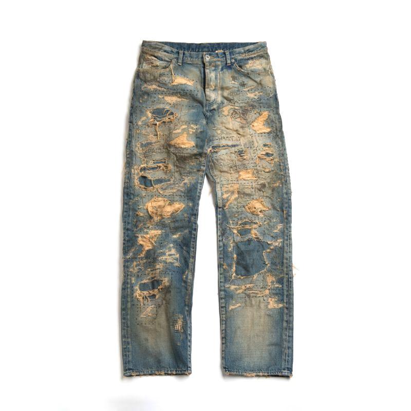 画像1: VARDE77 SPECIAL DAMAGE&REPAIR DENIM PANTS