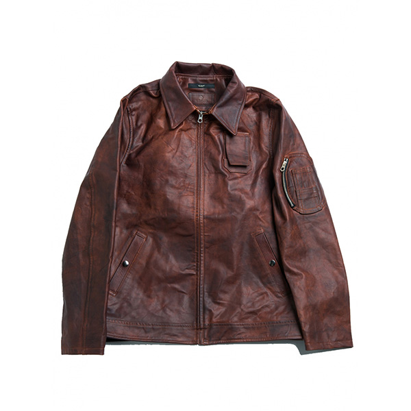 画像1: VARDE77vasco HAND DYED LEATHER JACKET BROWN