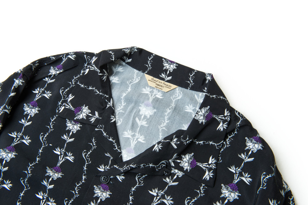 画像2: VINTAGE TEXTILE BLACK FLOWER ALOHA SHIRTS LONG SLEEVE
