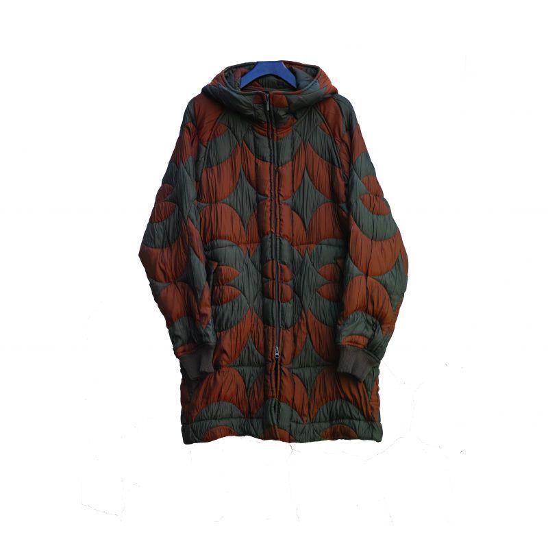 画像1: ts(s) Nylon Polyester Circle Jacquard Cloth Zip Front Hooded Coat OLIVE (1)