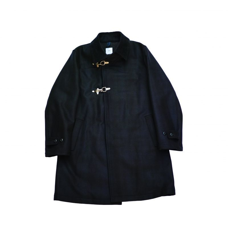 画像1: ts(s) Almost Solid Plaid Wool*Nylon Melton Cloth Fireman Coat (1)