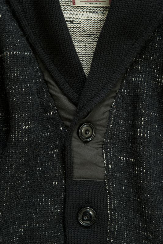 画像3: COMPOUNDED SHAWL COLLAR  KNIT CARDIGAN BLACK