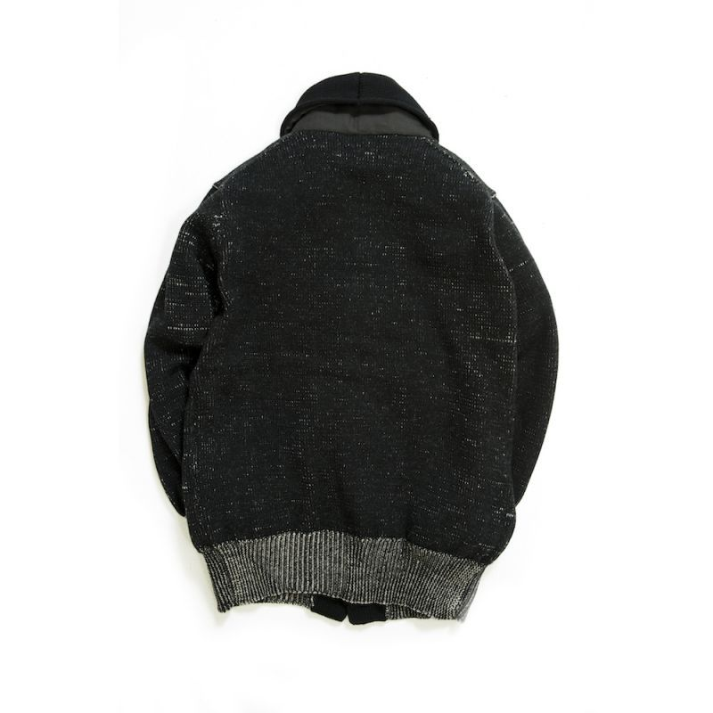 画像2: COMPOUNDED SHAWL COLLAR  KNIT CARDIGAN BLACK