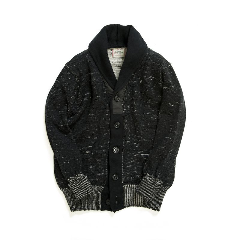 画像1: COMPOUNDED SHAWL COLLAR  KNIT CARDIGAN BLACK
