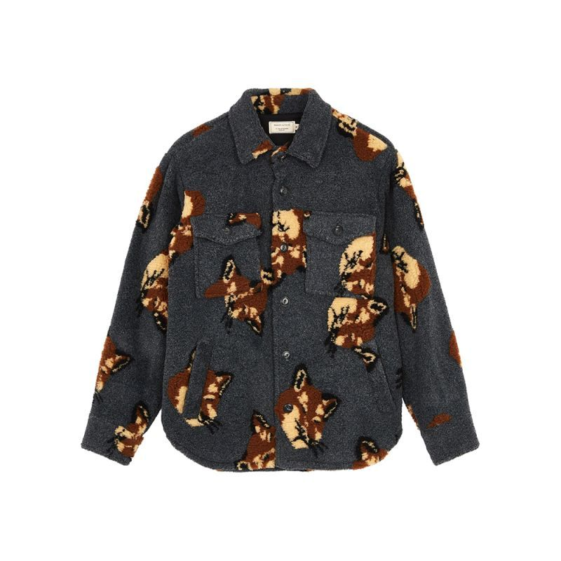 画像1: ALL-OVER FOX HEAD JOHN OVERSHIRT (1)