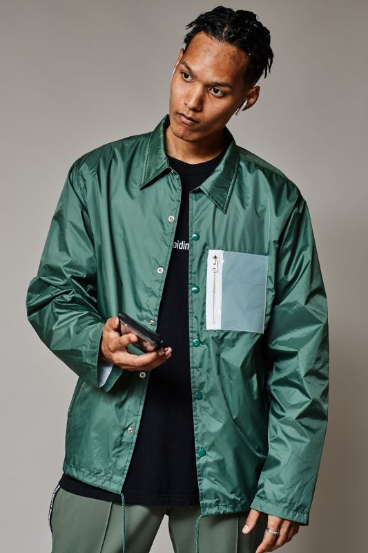 画像1: PVC COACH JACKET GREEN (1)