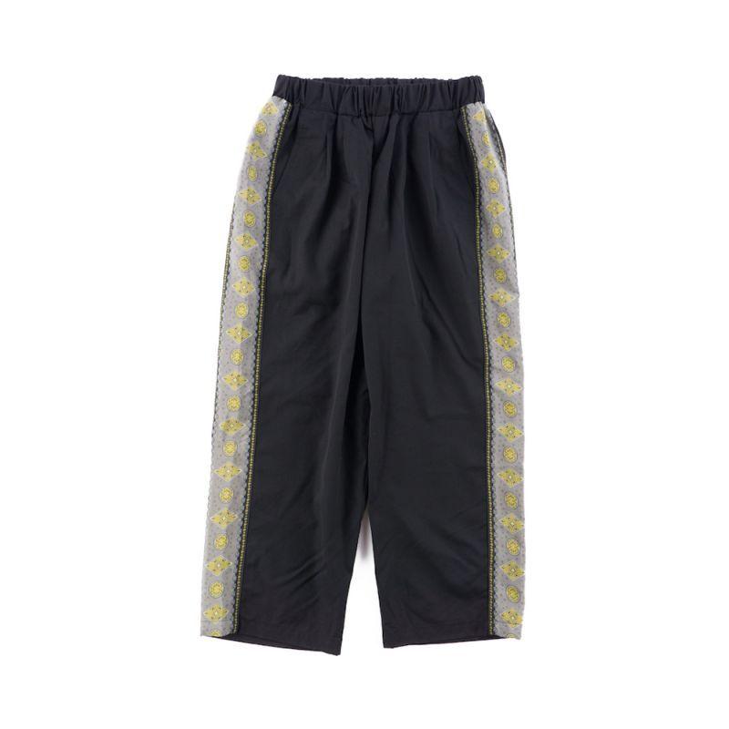 画像1: VINTAGE TEXTILE BLACK ALOHA LINE EASY PANTS (1)