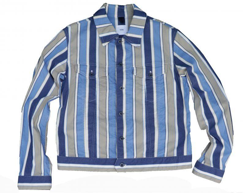 画像1: ts(s)  Multi Stripe Cotton*Nylon Stretch Cloth Double Flap Pocket Short Jacket BLUE (1)