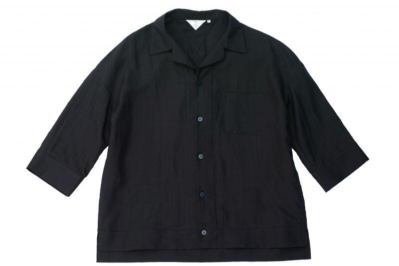 画像1: 19SS OPEN COLLAR SHIRTS  BLACK (1)