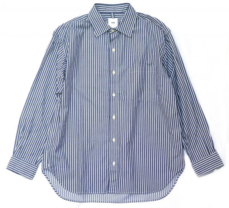 画像1: ts(s) 80/2 Cotton Bengal Stripe Cloth Baggy Fit Shirt NAVY (1)