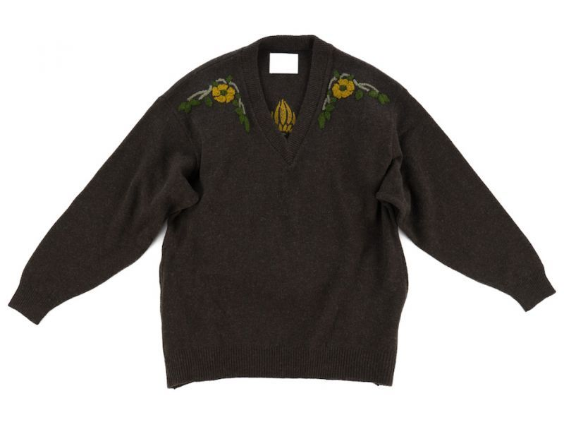 画像1: VARDE77 FLORAL DECORATION MOHAIR KNIT DARK BROWN (1)