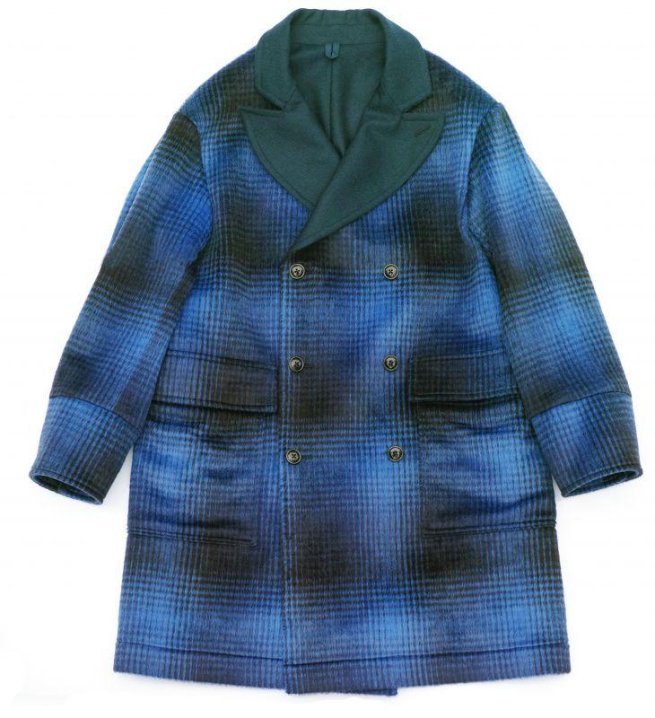 画像1: ts(s) Shaggy Plaid Wool Blend Cloth Double-breasted Patch & Flap Pocket Coat BLUE (1)