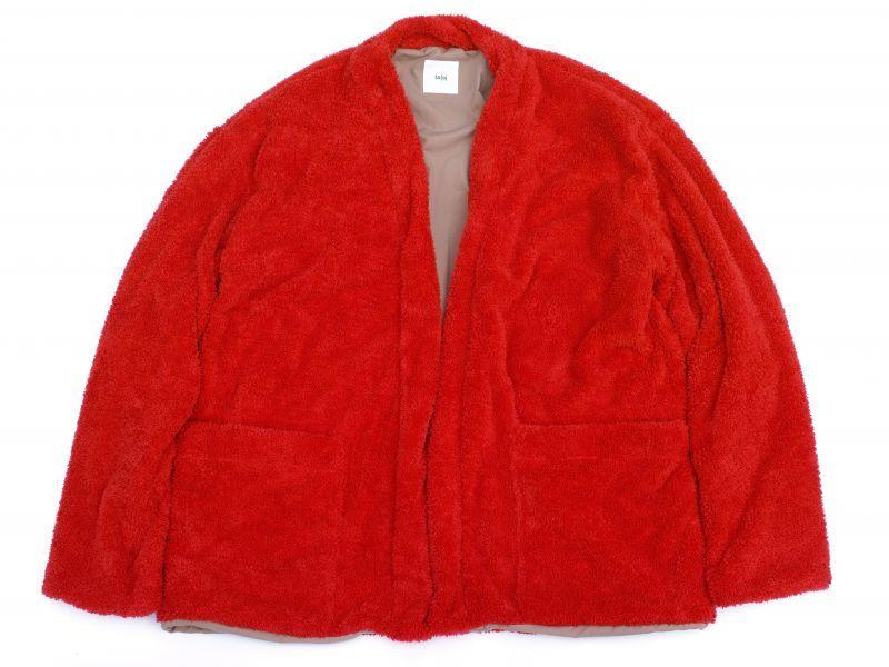 画像1: ts(s) Fluffy Polyester Fleece Jersey Lined Easy Cardigan RED (1)