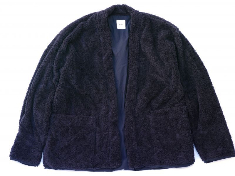画像1: ts(s) Fluffy Polyester Fleece Jersey Lined Easy Cardigan NAVY (1)