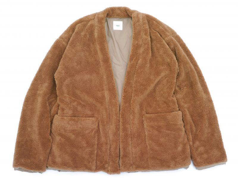 画像1: ts(s) Fluffy Polyester Fleece Jersey Lined Easy Cardigan KAHKI (1)